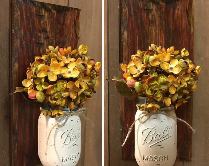 Mason JAR Wall SCONCE with Flower (optional) - Reclaimed Country Distressed Decor - Antique RED (Barn Red) wood with painted Ball Pint Jar