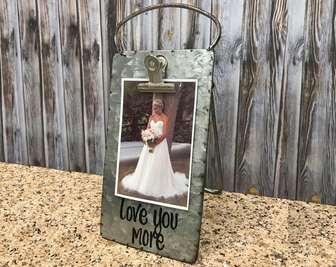 PHOTO HOLDER Metal Antique Cheese Grater with Clip/Clipboard Picture Frame great for 4x6 photos -Vintage Rustic Silver, Love you More