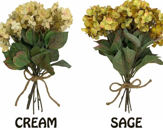 HYDRANGEA stem Bouquet BUNDLE decorate FLOWERS craft floral*Cream *Sage *Green Ceramic Pitcher Vase wedding *Beautiful Table Centerpiece