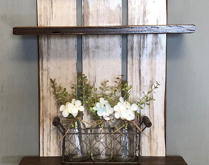 Shelf Decor Chicken Wire Tray with 3 Glass Bottles *Floral Arrangement *Farmhouse Home bathroom living room bedroom *Metal, Handle, Jarss
