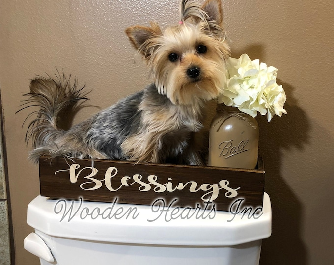 Wood Tray BLESSINGS Bathroom Decor *Wooden Box Toilet Paper Cosmetic Holder *Quart Jar (Flower Optional) *Distressed Rustic Brown Gray White