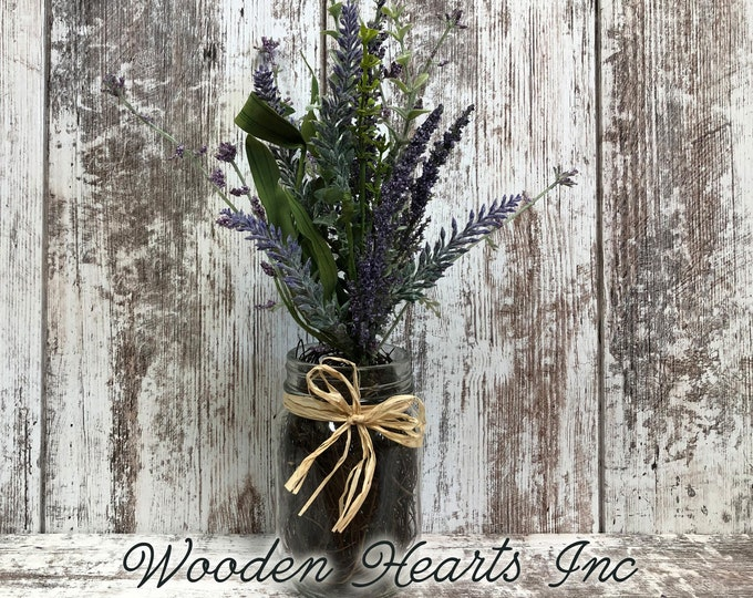 Table Decor for home *LAVENDER purple flower arrangement in jar vase *Pint canning jar *Kitchen Table Centerpiece *Farmhouse wedding florals