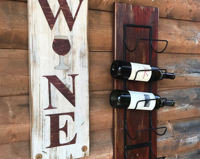 WINE with wine glass Sign, VERTICAL, Winery Bar Man Cave Decor, Rustic Word Distressed Wood *Antique Red & White, Xl Large Wall