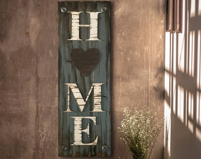 HOME with Heart Sign Vertical, Indoor Outdoor Exterior, Farmhouse decor, Rustic Word Distressed Wood *Antique Red White Blue Xl Large Wall