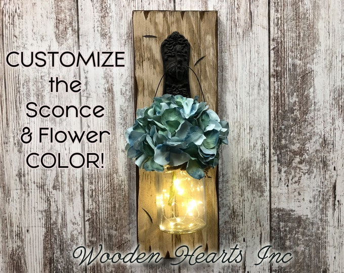 Wall Jar LIGHTED SCONCE (Flower optional) *String Lights *Battery Operated 6 Hour Timer *Metal Hook -Reclaimed Distressed Rustic Brown Wood