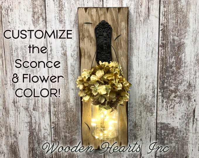 Wall Decor Jar LIGHTED SCONCE (Flower optional) *String Lights *Battery Operated 6 Hour Timer *Metal Hook Distressed Rustic Brown White Wood