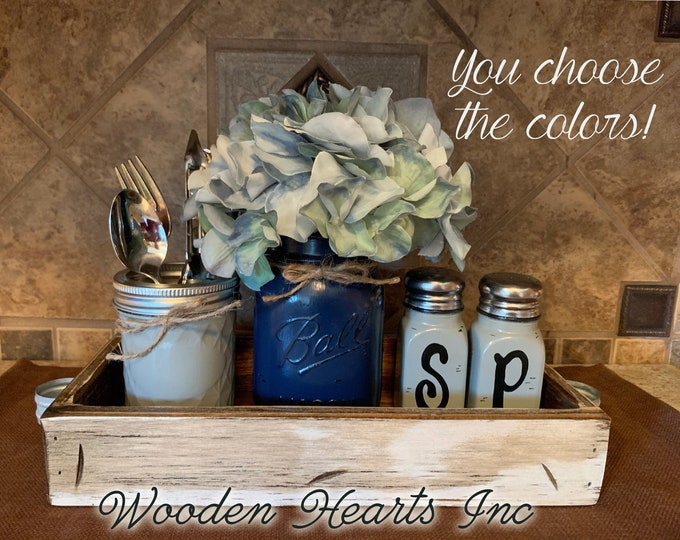 Ball MASON Jar Kitchen 5pc SET in Antique Wood TRAY, Mini Quilted, Pint Vase with Flower, Salt & Pepper Shakers Jars Distressed Centerpiece