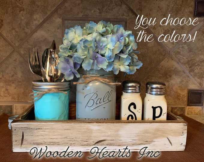 Kitchen Table Centerpiece Jar Set 5pc in Antique Wood TRAY, Mini Quilted, Pint Vase Flower, Salt & Pepper Shakers Mason Ball Jars Distressed