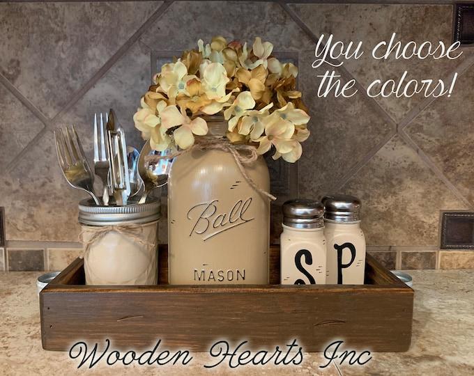 Kitchen Jars Set Centerpiece Table Jar 5 pc, Antique Wood TRAY, Mini Quilted, Quart Vase Flower, Salt & Pepper Shakers Mason Ball Distressed