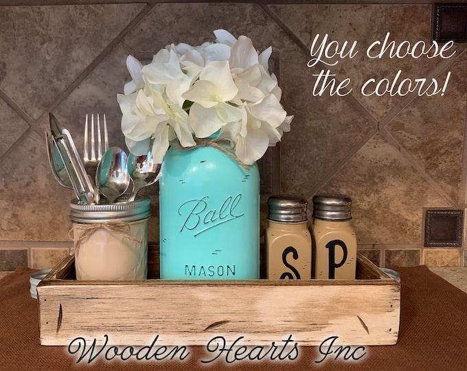 Kitchen Decor Table Jar 5 pc Set, Antique Wood TRAY Centerpiece, Mini Quilted, Quart Vase Flower, Salt & Pepper Shakers Mason Ball Jars Blue