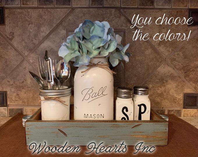 Centerpiece Kitchen Table Jar 5 pc Set, Antique Wood TRAY, Mini Quilted, Quart Vase Flower, Salt & Pepper Shakers Mason Ball Jars Distressed