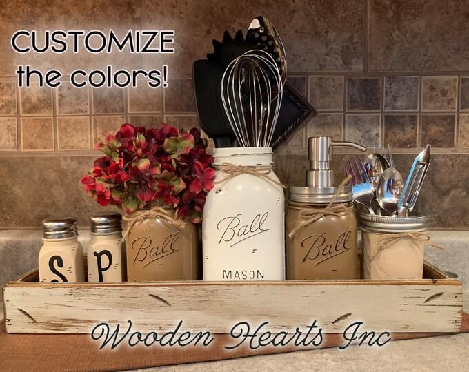 Wood TRAY with Kitchen Jar Decor SET, Salt & Pepper Shakers, Ball Mason Pint Flower Vase, Quart Utensil Holder, Soap Dispenser, Silverware