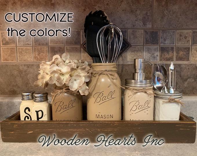 MASON Jar Centerpiece Kitchen Decor Wood TRAY SET, Salt & Pepper Shakers, Pint, Quart Utensil Holder, Soap Dispenser, Mini Silverware Jars