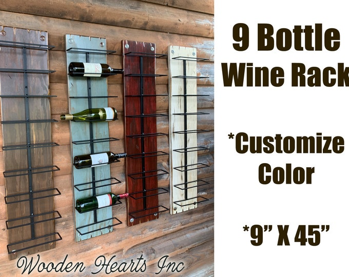 WINE RACK Wall Mounted Wood 9 Bottle Holder with Metal Distressed Winerack Kitchen Bar Decor Bath Towels Rustic Antique Red White Blue Brown