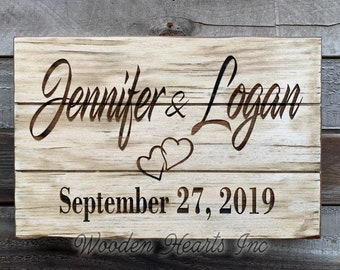 WEDDING Gift PERSONALIZED Engraved Bride Groom Name Sign Established Birth Date CUSTOM Anniversary Family Baby Nursery Decor White Wood