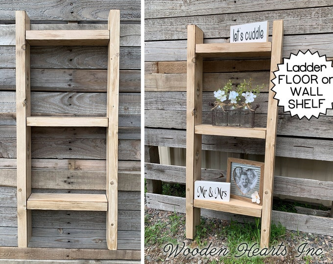 LADDER SHELF Wood Hanging Wall Decor Bathroom Kitchen Living Room Distressed Rustic Home Antique White Farmhouse style Display Family Photos