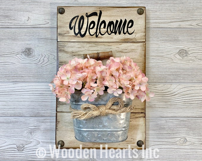 WELCOME SIGN with Tin Can to hang by front door *Bucket Wall Decor ~ Flowers are Optional *Distressed Rustic Farmhouse Wood *Cream White