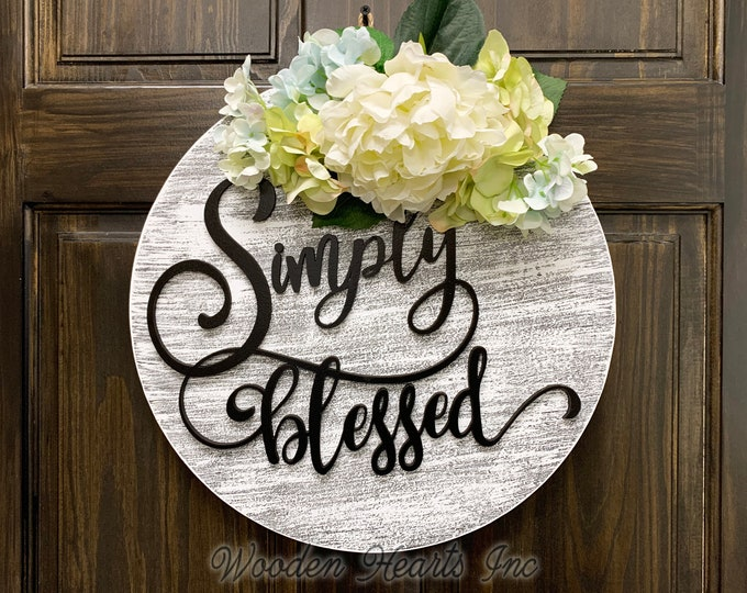 "SIMPLY BLESSED Welcome Door Hanger Spring Wreath Flowers Front Door Decor 16"" Round Sign Peony Hydrangea Wall Mount Outdoor White Wood"