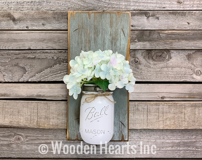 Mason JAR Wall SCONCE with Flower (optional) - Reclaimed Country Distressed Decor - Antique RIVER Rock Blue wood with painted Ball Pint Jar