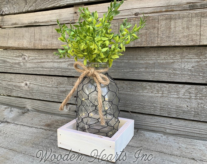 Centerpiece Wood Tray *Custom *You choose pieces! Optional Chicken Wire Tonic Bottle, Greenery Grass, Sunflower, Lights *Farmhouse Jar Decor