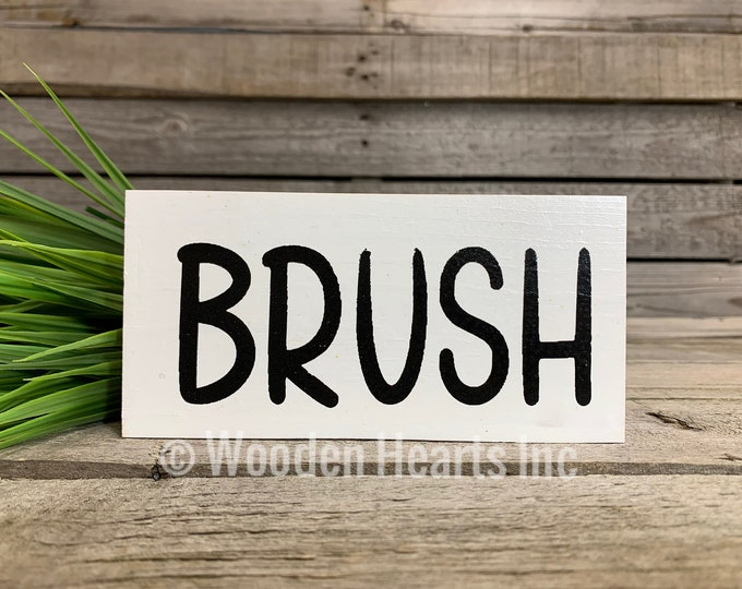 BATHROOM Sign BLOCK Brush, Floss, Wash, Flush, Save Water Shower Together, Nice Butt, Wash your hands, Get Naked 3x6 White Wood decor