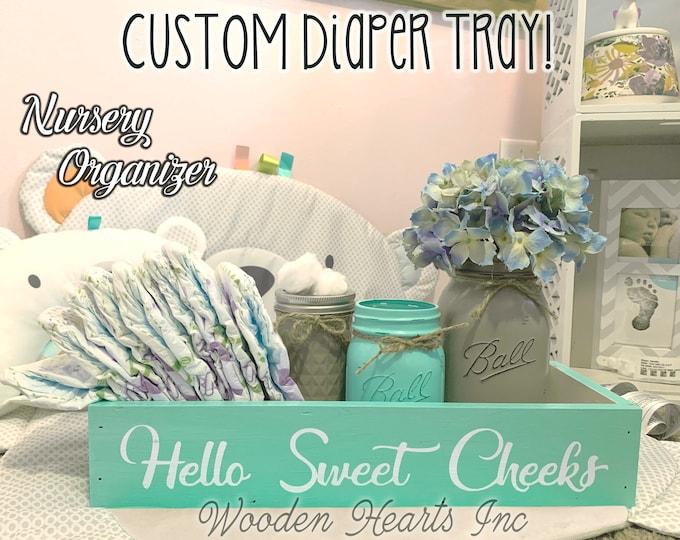 Diaper Holder BABY Nursery Room Decor Bathroom Hello Sweet Cheeks Boy Girl Shower Gift NICE BUTT Blessings Wood Box *Toilet Paper Lotion Jar