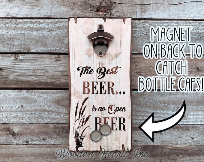 BEER Bottle Opener Wall Mount Magnet Cap Catcher Custom Engraved Personalize Bar Mancave Hanging Wood Metal Dad Deer Alcohol Wedding Gift
