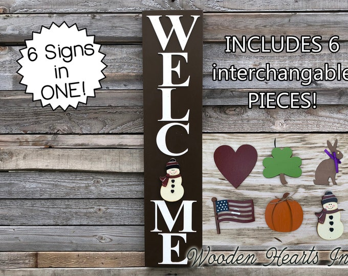 WELCOME Sign with 6 Interchangeable SEASON CHANGER Pieces *Vertical Outdoor *Christmas Thanksgiving *Heart Clover Bunny Flag Pumpkin Snowman