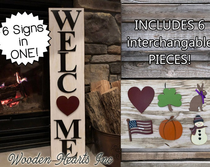 Seasonal WELCOME Sign Interchangeable Season Changer Pieces *Heart Clover Bunny Flag Pumpkin Snowman Christmas Easter Valentines Day Holiday