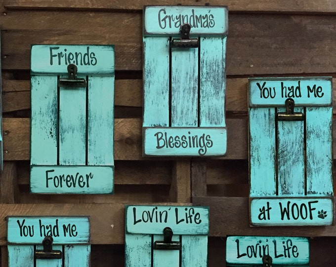 PICTURE FRAME 4X6 with clip Family Friends Grandma's Blessings Dog Lake Farm Love Wall Hanging Photo Sign, CARIBBEAN Aqua Blue Wood *Limited