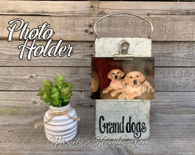 Grand dog Picture Frame Dogs PHOTO HOLDER Metal Antique Cheese Grater with Clip/Clipboard great for 4x6 photos Vintage Rustic Silver, Family