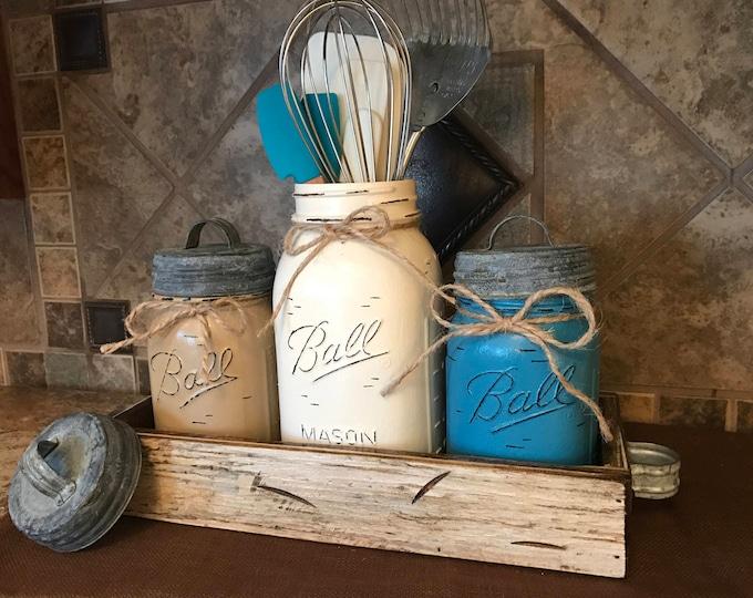 MASON Jar Kitchen CANISTER SET with metal galvanized lids, Utensil Holder, Painted Pint Jars Distressed Brown Tan Blue *Flower Optional