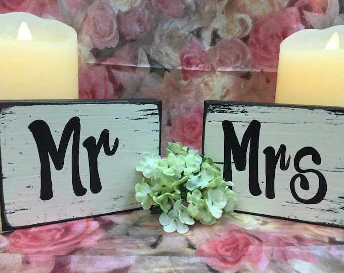 MR and MRS SIGNS Wedding Anniversary Bride to be Future Groom Bridesmaid Best Man Maid of Honor Block Wood Sign Table Cake Topper Decor Gift