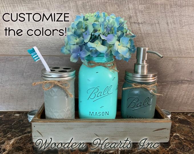 Toothbrush holder (Tall), Soap Dispenser Bathroom Jar Counter Mason SET in Dove GRAY TRAY, Quart Distressed Jars Decor Silver Bronze Brass