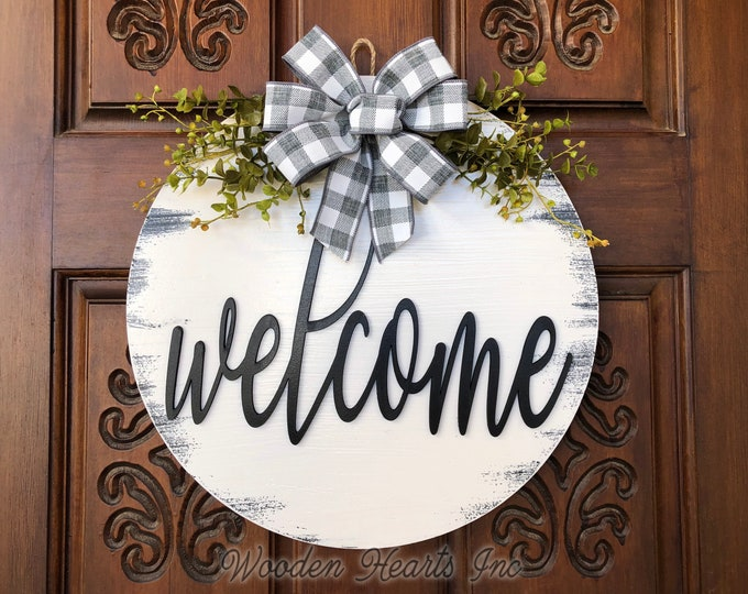 """Welcome Sign Front Door Hanger 16"""" Round Wood Wreath with Bow Ribbon Eucalyptus Everyday Sign Spring Easter Distressed White Gray Black"""