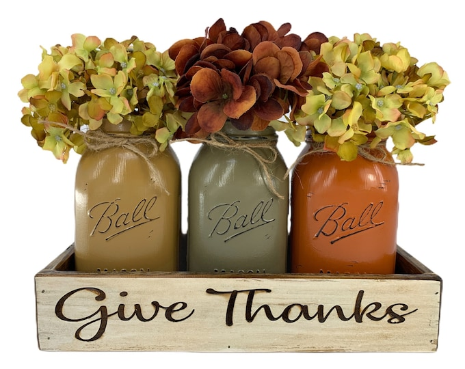 PERSONALIZED Tray ENGRAVED CUSTOM Fall Table Centerpiece Kitchen Painted Pint Mason Jars wedding Christmas gift Name Est Date Give Thanks