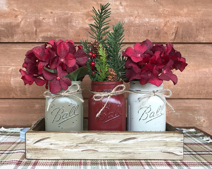 CHRISTMAS HOLIDAY Tray Centerpiece with Jars (Florals optional) Distressed Wood Antique WHITE pine flowers 3 Ball Pint Jar pew-burg-thistle