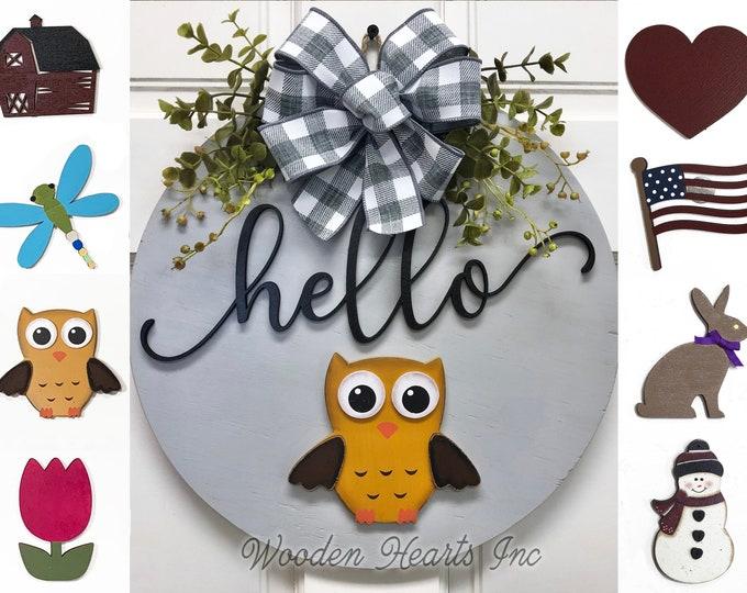 """Door Hanger Spring Wreath Year Round Welcome Bow Front Door Decor + Interchangeable Season Changer Piece 14"""" Sign, Hello Easter Bunny Heart"""