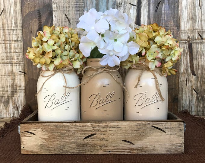 MASON Jar Decor Centerpiece (Flowers optional) -Antique Wood TRAY Rusty Handles- 3 Ball Canning Painted QUART Jars Distressed Red White Blue