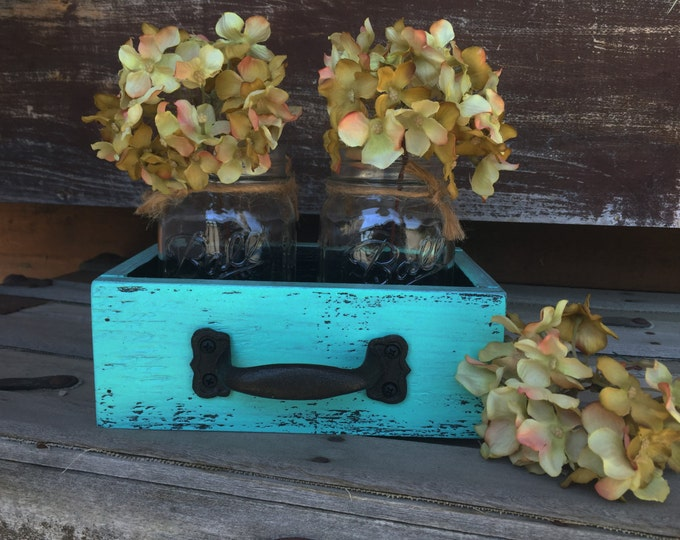 MASON Jar Centerpiece DRAWER with 2 Ball Jars Reclaimed Distressed Wood Mail Organizer Box Table Storage Handle Burgundy Blue White Red Teal