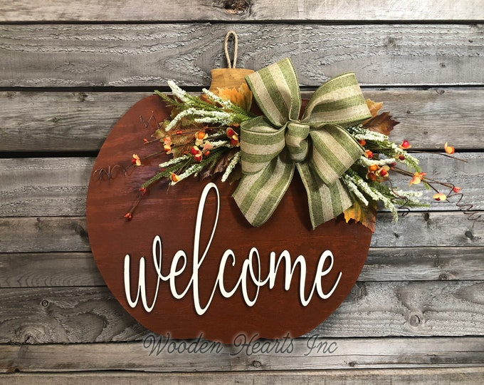 "FALL Door hanger PUMPKIN sign Wreath WELCOME or Blessed Sign Porch Wood 16"" 3D Wood Custom Bow Leaves Autumn White Orange"