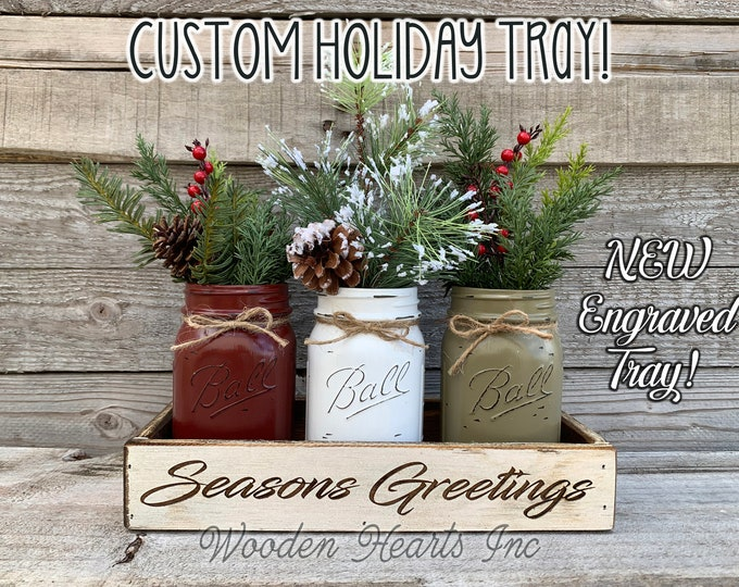 Seasons Greetings Christmas ENGRAVED White Tray Kitchen Table Centerpiece CUSTOMIZE Painted Pint Mason Jars Set Evergreen Pine Berries Name