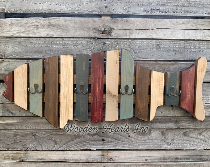 COAT RACK Wall FISH Shaped Reclaimed Wood metal Towel hooks Lake Home Decor Cabin Coatrack Distressed Red Blue Cream Cabin Fisherman Unique