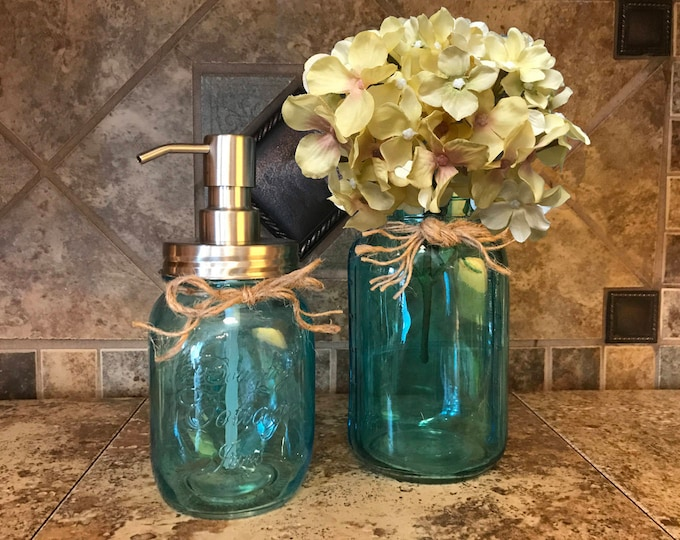 Jar Soap Dispenser Stainless Steel PLUS Quart SAPPHIRE Blue Vase, Flower (Optional) 2 Piece Set *Centerpiece *Twine *Kitchen Bathroom Decor