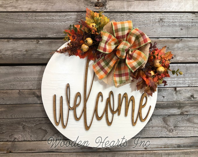 "FALL Door hanger Wreath  WELCOME Wood Round Sign 16"" 3D Wood Lettering Bow  Leaves Distressed White Orange"
