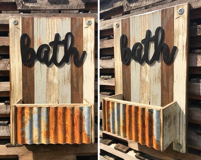 BATH Wall Caddy *Beautiful Distressed Wood Wall *Rustic Home Bathroom Decor *Towel Rack *Accessory Storage *Cream Blue Gray Brown 16X24