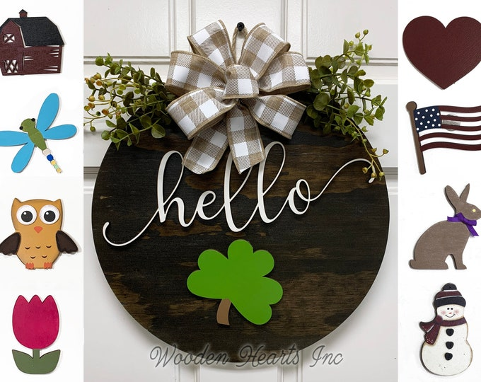 "Wreath for Front Door Hello Hanger Welcome with Bow Decor + Interchangeable Season Changer Piece 14"" Round Sign, Spring Shamrock Heart Bunny"