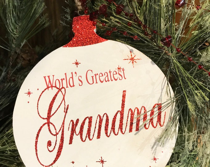 Christmas ORNAMENT World's Greatest Grandma Grandpa, Baby's First Tree Memory Gift for a boy or girl * Red Glitter on White Wood Hanging Orn