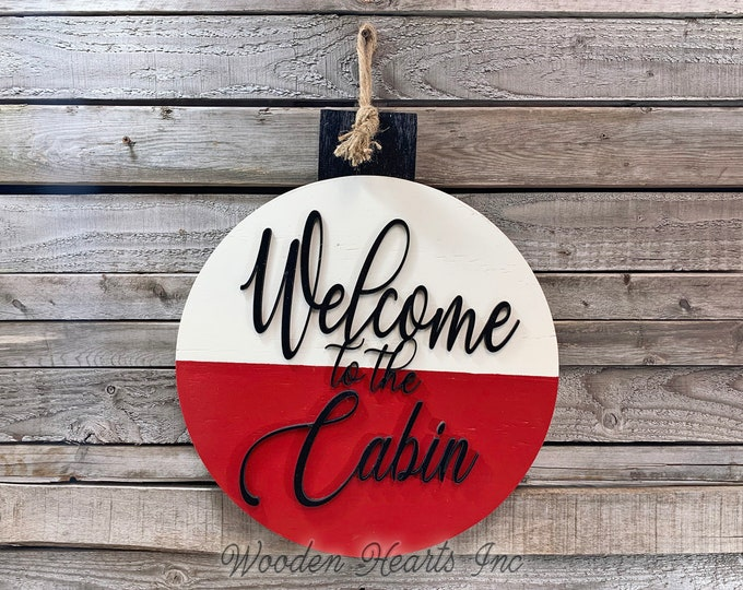 Welcome to the cabin BOBBER porch sign Front Door Hanger Lake River Hello Summer beach House Wreath Round Outdoor