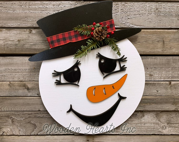 "Christmas Holiday Door hanger Snowman WreathWood Round Mr or Mrs Sign Greenery, Happy Holidays, Boy Top Hat, Girl Bow 14"" 3D Wood Lettering"